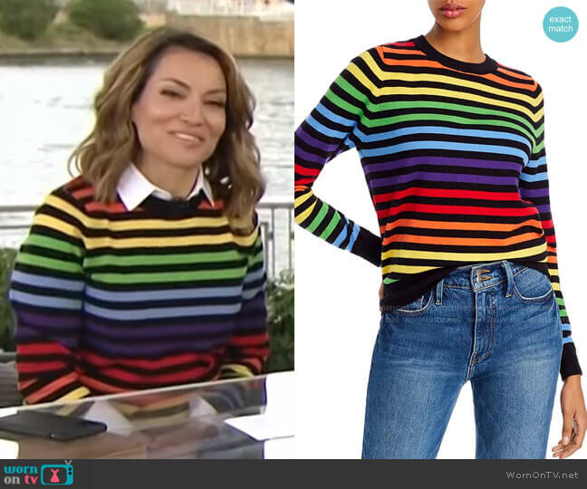 Rainbow-Stripe Sweater by Madeleine Thompson x AQUA worn by Kit Hoover  on Access Hollywood