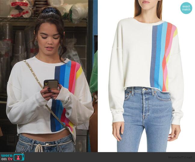 Stripe Raw Sweatshirt by Re/Done worn by Alexa Mendoza (Paris Berelc) on Alexa & Katie