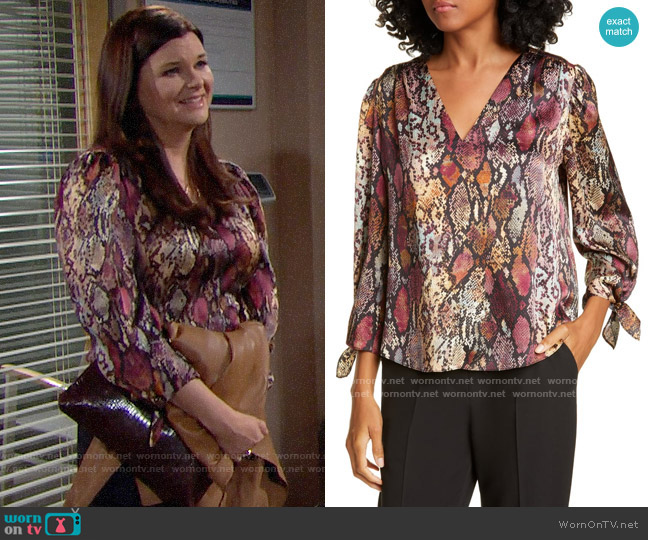 Rebecca Taylor Snakeskin Print Tie Cuff Top worn by Katie Logan (Heather Tom) on The Bold & the Beautiful