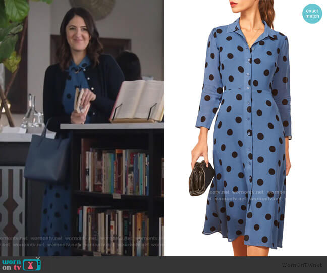 Arcadia Spot Print Shirtdress by Reformation worn by D'Arcy Carden on Single Parents
