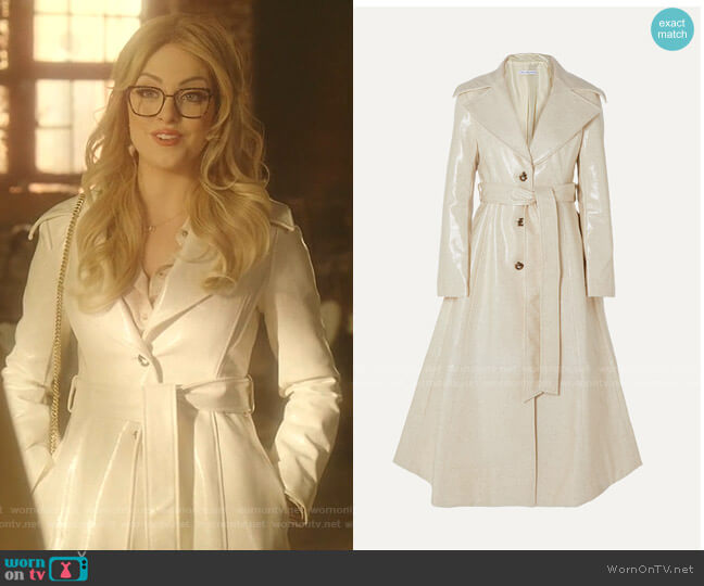Rhea Trench Coat by Rejina Pyo worn by Fallon Carrington (Elizabeth Gillies) on Dynasty