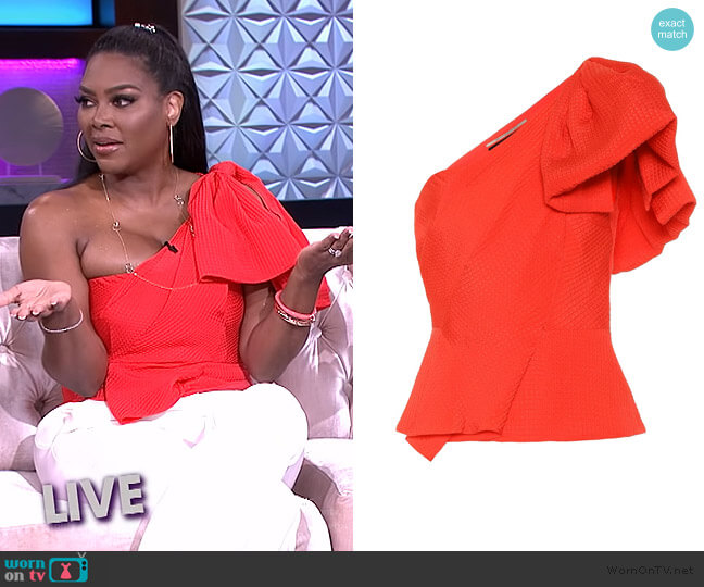 Toulon silk-jacquard Top by Roland Mouret worn by Kenya Moore on The Real