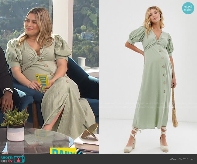 Maternity Button Through Twist Front Maxi Tea Dress by Asos worn by Carissa Loethen Culiner  on E! News