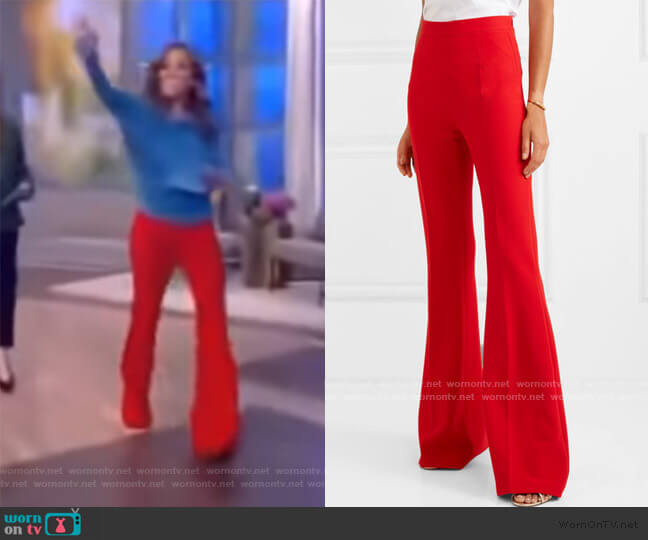 Halluana stretch-crepe flared pants by Safiyaa worn by Sunny Hostin  on The View