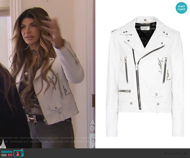 Studded Moto Jacket by Saint Laurent worn by Teresa Giudice  on The Real Housewives of New Jersey