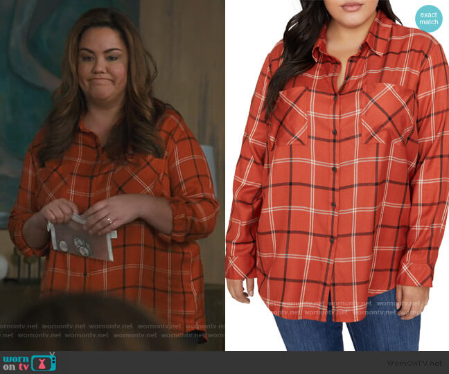 New Generation Plaid Boyfriend Shirt by Sanctuary worn by Katie Otto (Katy Mixon) on American Housewife