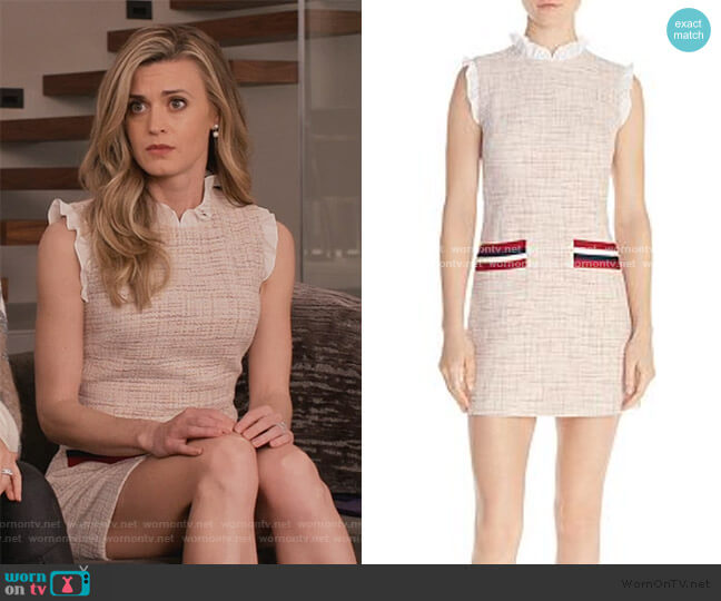 Morgan Ruffled Tweed Mini Dress by Sandro worn by Brooke D'Orsay on Grace and Frankie