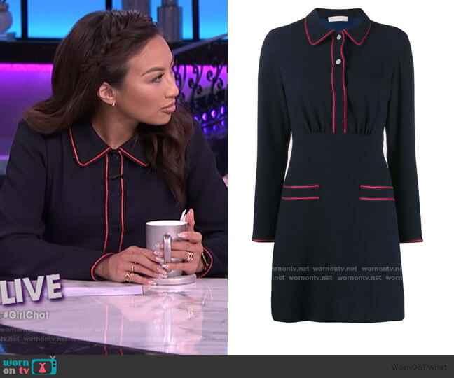 Contrast-piping Mini Dress by Sandro worn by Jeannie Mai  on The Real
