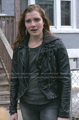 Sandy's black hooded moto jacket on Shameless