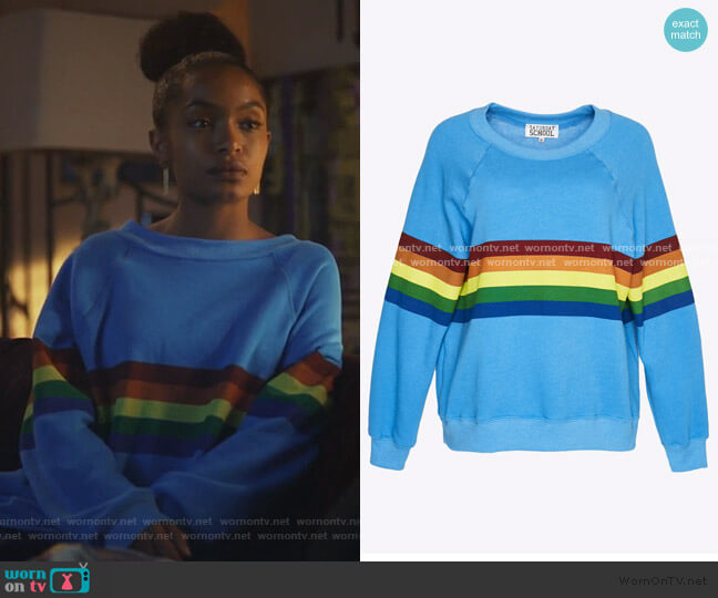 Todays Hits & Yesterdays Favorites Rainbow Sweatshirt by Saturday School worn by Zoey Johnson (Yara Shahidi) on Grown-ish