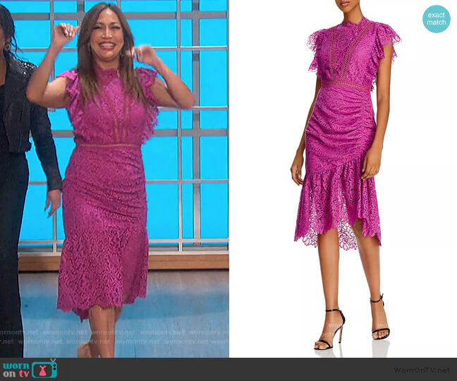 Claire Silk Wrap Dress by Saylor worn by Carrie Inaba  on The Talk