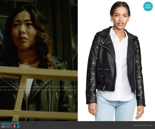 Scotch & Soda Leather Embroidered Star Sleeve Biker Jacket worn by Mary Hamilton (Nicole Kang) on Batwoman