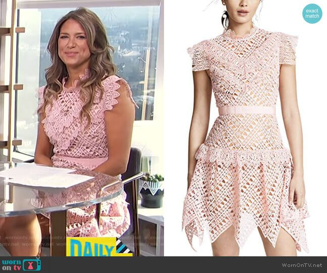 Abstract Triangle Lace Dress by Self Portrait worn by Nikki Novak on E! News Daily Pop