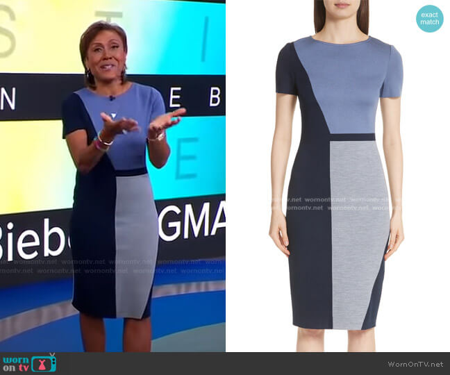 Slanted Colorblock Milano Knit Sheath Dress by St. John Collection worn by Robin Roberts  on Good Morning America