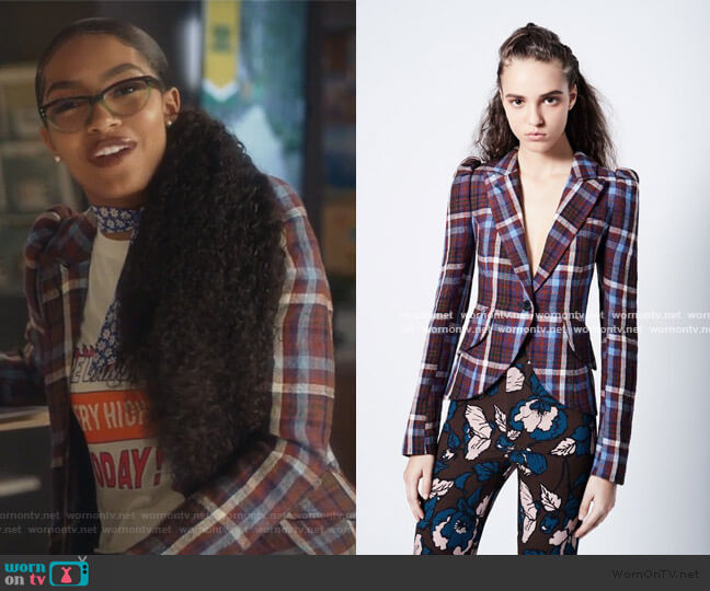 Plaid Blazer by Smythe worn by Zoey Johnson (Yara Shahidi) on Grown-ish