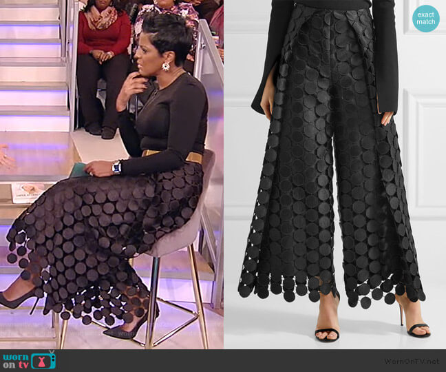 Hallie lace wide-leg pants by Solace London worn by Tamron Hall  on Tamron Hall Show