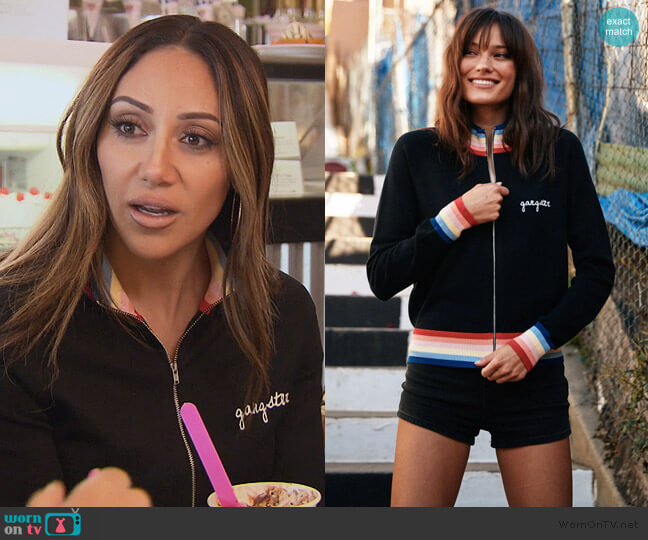 Madeleine Thompson X Sg Stripe Knit Jacket by Spiritual Gangster worn by Melissa Gorga  on The Real Housewives of New Jersey