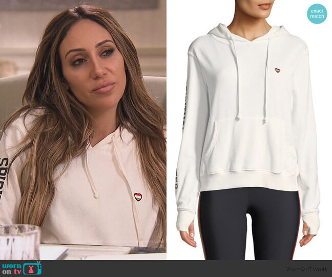 Sundown Hooded Varsity Graphic Pullover by Spiritual Gangster worn by Melissa Gorga  on The Real Housewives of New Jersey