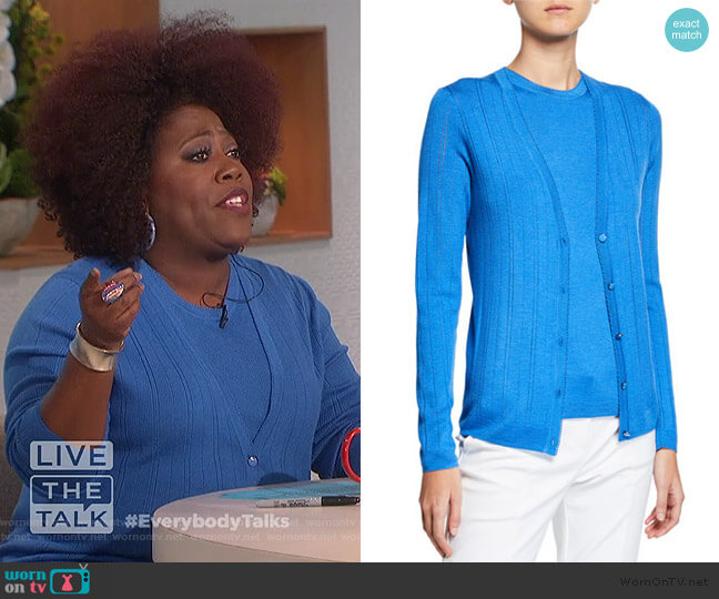 Wool-Silk Pointelle Rib Shell and Cardigan by St. John worn by Sheryl Underwood  on The Talk