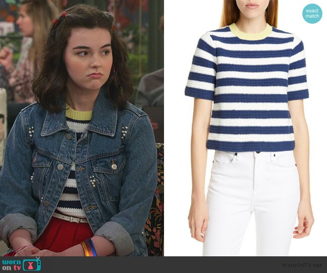 Esther Stripe Sweater by Staud worn by Hannah (Merit Leighton) on Alexa & Katie