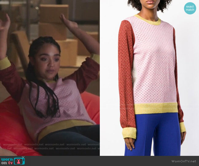 Perforated Colour-Block Sweater by Stine Goya worn by Kat Edison (Aisha Dee) on The Bold Type