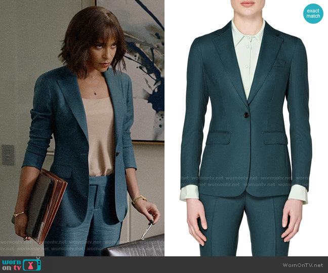 Suistudio Cameron Wool Suit Jacket in Teal worn by Edie Palmer (Megalyn Echikunwoke) on Almost Family