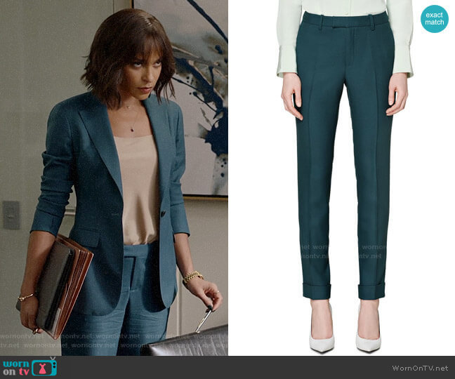 Suistudio Robin Cuff High Waist Wool Pants in Teal worn by Edie Palmer (Megalyn Echikunwoke) on Almost Family