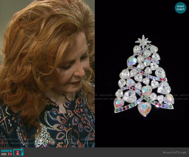 Swarovski Crystal 2007 Rockefeller Center Christmas Tree Brooch worn by Maggie Horton (Suzanne Rogers) on Days of our Lives