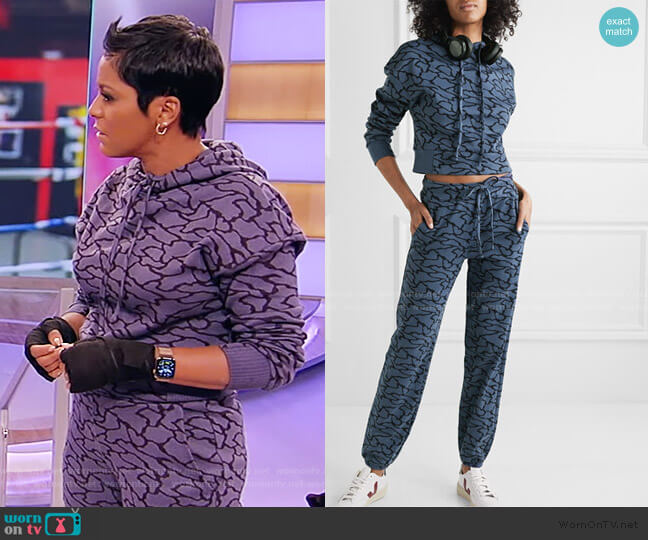 Hyper Reality Cropped Jacquard-knit Hoodie and Track Pants by Twenty Montreal worn by Tamron Hall  on Tamron Hall Show
