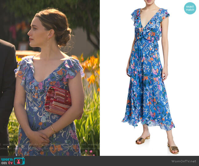 Arielle Floral Print Ruffle Dress by Tanya Taylor worn by Love Quinn (Victoria Pedretti) on You