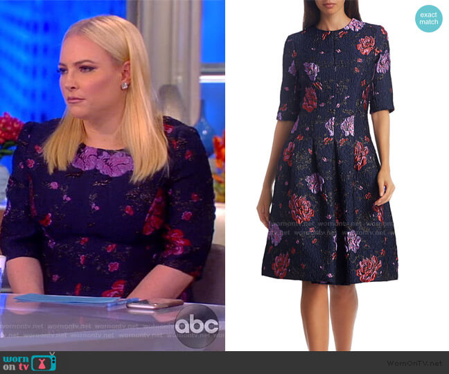 Floral Jacquard Cocktail Dress by Teri Jon by Rickie Freeman worn by Meghan McCain  on The View