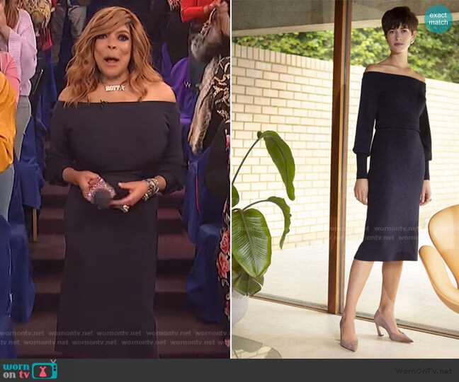 Toulouse Dress Navy Viscose by The Fold London worn by Wendy Williams  on The Wendy Williams Show