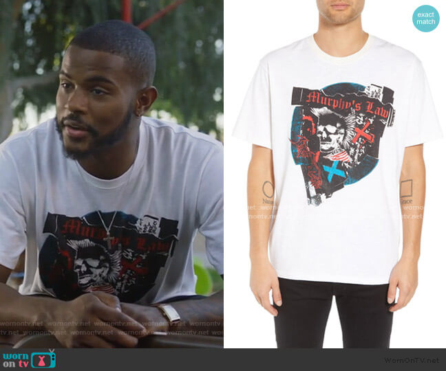 Murphy's Law Graphic T-Shirt by The Kooples worn by Aaron Jackson (Trevor Jackson) on Grown-ish
