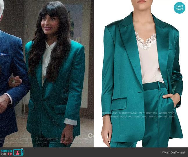 The Kooples Satin Blazer worn by Tahani Al-Jamil (Jameela Jamil) on The Good Place