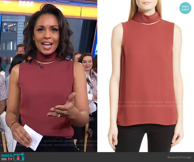 Classic Slit Collar Silk Top by Theory worn by Adrienne Bankert  on Good Morning America