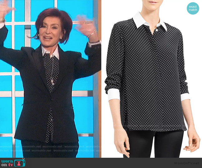 Crepe Polka Dot Shirt by Theory worn by Sharon Osbourne  on The Talk