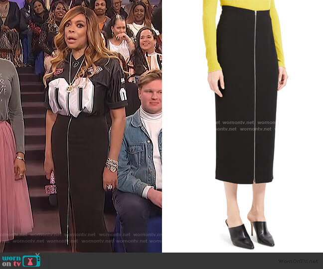 High Waist Zip Pencil Midi Skirt by Theory worn by Wendy Williams  on The Wendy Williams Show