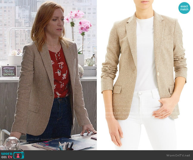Theory Staple Wool & Stilk Blend Blazer worn by Julia Bechley (Brittany Snow) on Almost Family