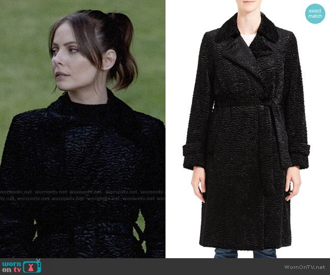 Theory Trench Coat In Faux Astrakhan worn by Thea Queen (Willa Holland) on Arrow