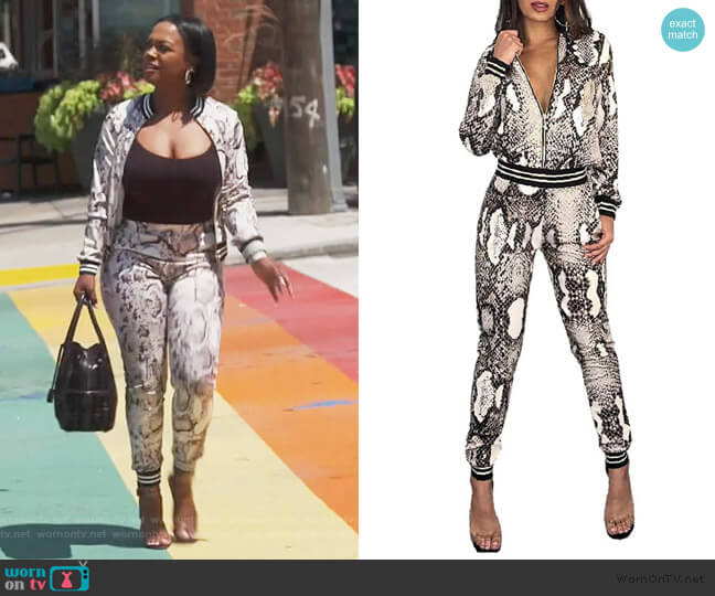 Snakeskin Tracksuit by Thusfar worn by Kandi Burruss  on The Real Housewives of Atlanta