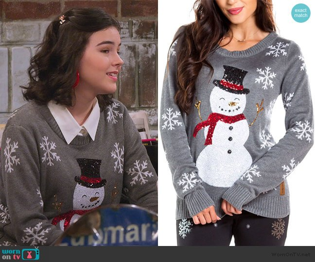 Sequined Snow Day Ugly Christmas Sweater worn by Hannah (Merit Leighton) on Alexa & Katie
