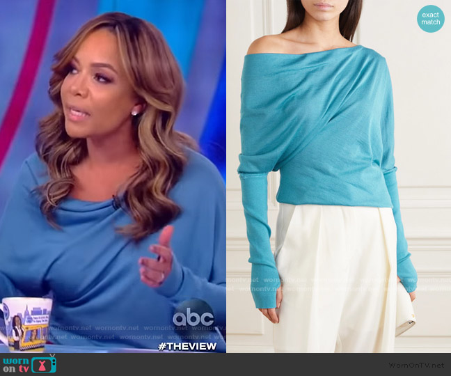 One-shoulder cashmere and silk-blend sweater by Tom Ford worn by Sunny Hostin  on The View