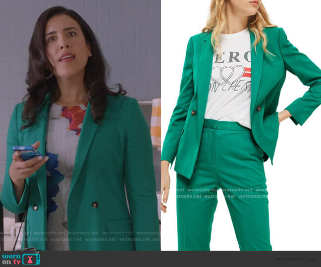 Double Breasted Suit Jacket by Topshop worn by Shannon Ross (Nicole Power) on Kims Convenience
