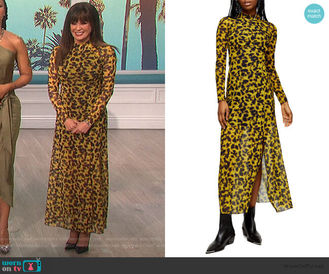 Smudge Mesh Long Sleeve Midi Dress by Topshop worn by Marie Osmond  on The Talk