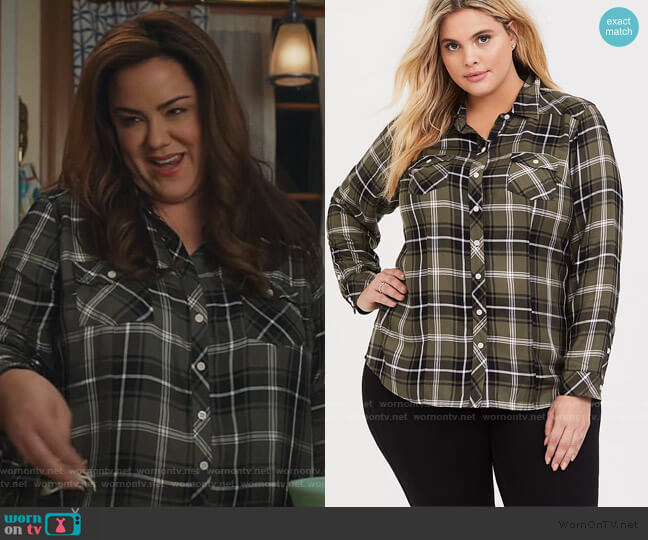 Plaid Twill Button Front Slim Fit Shirt by Torrid