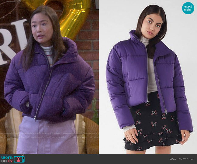 UO Hadley Puffer Jacket worn by Jen (Krista Marie Yu) on Last Man Standing