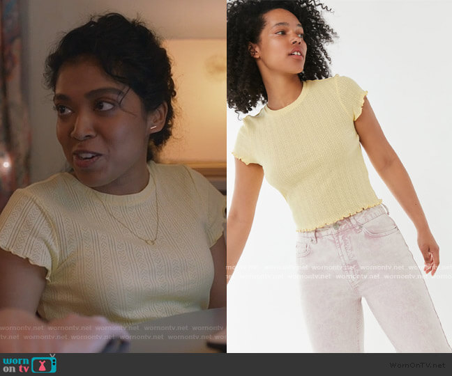 Pointelle Lettuce-Edge Baby Tee by Urban Outfitters worn by gabriella sundar singh on Kims Convenience