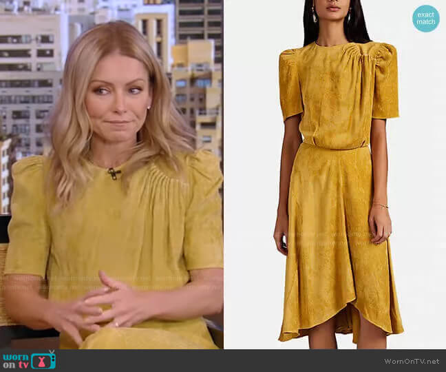 Ulia Pleated Corduroy Dress by Isabel Marant worn by Kelly Ripa  on Live with Kelly & Ryan