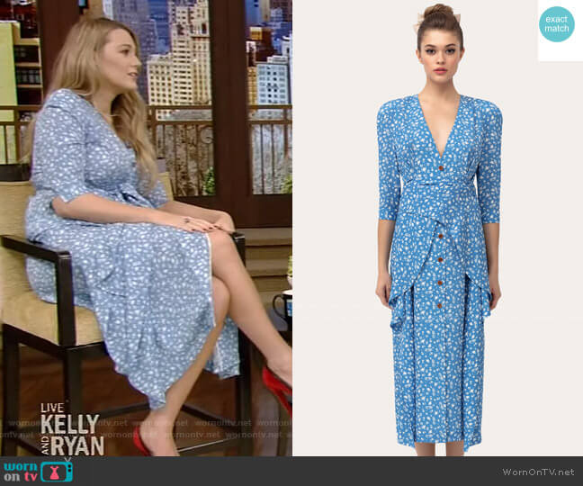 Silk Dress with Basque Belt by Ulyana Sergeenko worn by Blake Lively on Live with Kelly and Ryan