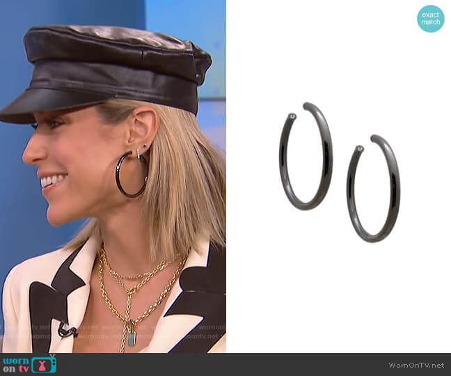 Gunmetal Hoop Earrings by Uncommon James worn by Kristin Cavallari on E! News